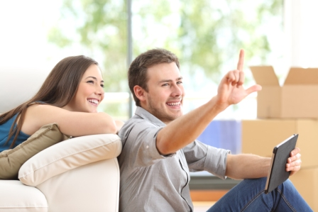 couple planning moving and packing