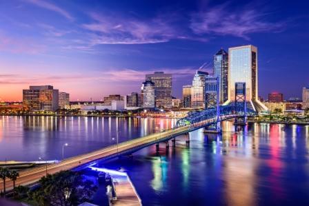 Jacksonville, FL, at night