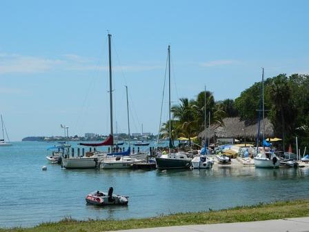 Sarasota sea bay and boats