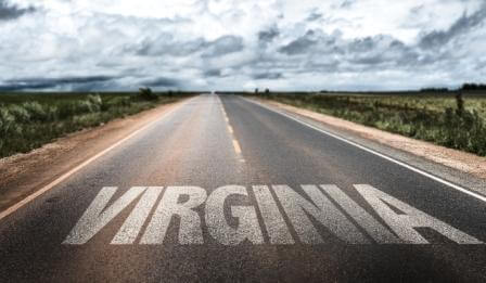virginia written in white on the road