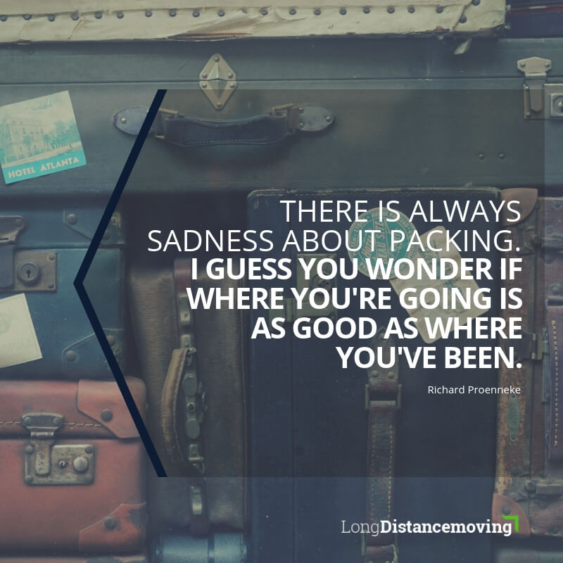 There is always sadness about packing