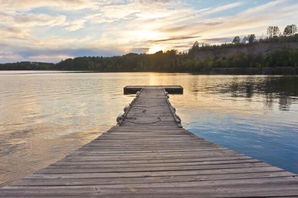 White Iron lake dock view in Minnesota, US