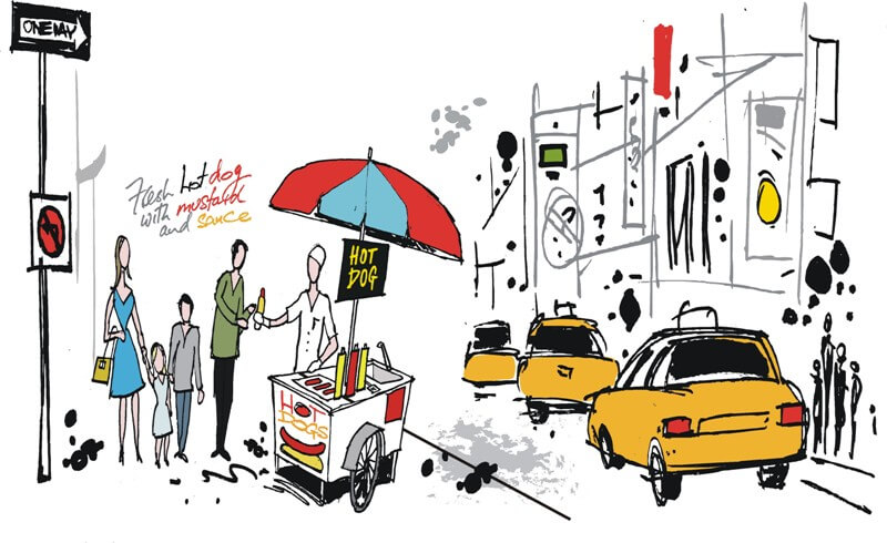 Painting: man buying hot dogs for family in the street of NYC