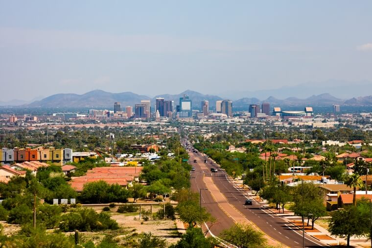 Skyline of Phoenix, AZ with city's skyline