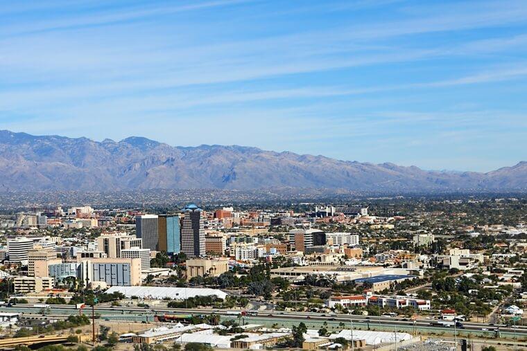 Tucson AZ skyline, aerial view